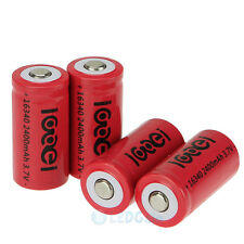 4 x 2400Mah 3.7V 16340 CR123A 123A CR123 Li-ion Rechargeable Battery Cell USA