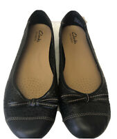 CLARKS BENDABLES Women's 8W Black Perforated Leather Slip On Ballet Flats EUC
