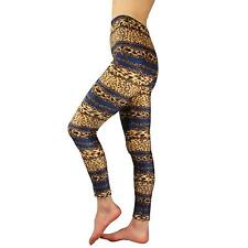 Ladies Winter Cold Weather Soft Velour Warm Leggings Stretchy Leopard Chain #8