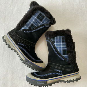 Merrell Pixie Pull Waterproof Snow Boots Womens Size 7 Blue Plaid Suede Faux Fur