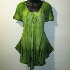 Top Fits XL 1X 2X 3X Plus Tunic Green Tie Dye Lace Sleeves A Shaped NWT G7782