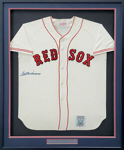 Red Sox Ted Williams Auto Framed White Mitchell & Ness Jersey Beckett #AA01158