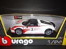 Bburago Porsche 918 Sypder Racing Weissach White 1/24