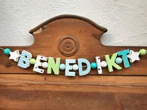 """""""BENEDIKT"""" NAMENSKETTE KINDERZIMMER DEKO HOLZBUCHSTABEN TAUFE BABY NAME GESCHENK"""