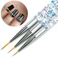 3Pcs 7/9/11mm Nail Art Brush Painting Drawing Line Pen Liner Thin Brushes UK