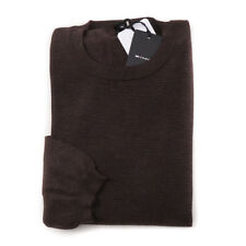 NWT $2195 KITON Chocolate Brown Fine Striped Lightweight Cashmere Sweater XL