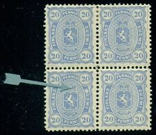 FINLAND #28v 20p ultra, Block of 4, og (2NH/2LH) White Flaw Over S in SUOMI