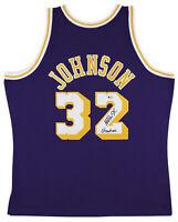 "Lakers Magic Johnson ""Showtime"" Signed 84-85 M&N HWC Swingman Purple Jersey BAS"
