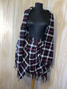 Vtg GLORIA SACH BLACK WHITE PINK PLAID WRAP FRINGE SKIRT W/ MATCH WRAP SZ 10