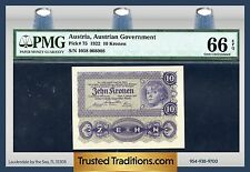 TT PK 75 1922 AUSTRIA 10 KRONEN PMG 66 EPQ GEM POP ONE FINEST KNOWN