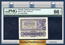 TT PK 75 1922 AUSTRIA 10 KRONEN PMG 66 EPQ GEM POP ONE FINEST KNOWN