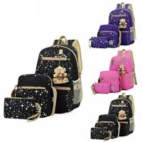 3 Piece Womens Girls School Backpack Bookbag Shoulder Bag Rucksack Travel Canvas