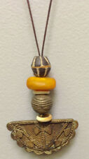 African Cord Necklace Brass Pendant Glass Bead