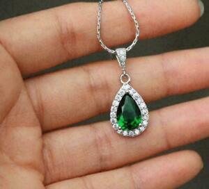 2.20Ct Pear Cut Green Emerald Halo Pendant 14K White Gold Finish 18'' Free Chain