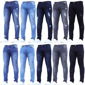 Mens Ripped Skinny Jeans Super Stretch Paint Splatter Blue Black