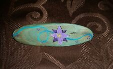 Barrette Wooden Hair Accessory Floral metal clip Handmade Purple Hand Painted