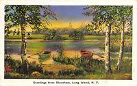 Shoreham NY Greetings From Long Island Sound~Rowboats @ Sunset 1938 Linen