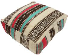 Moroccan Kilim Pouf Pouffe Footstool Footrest Cover Morocco 60x60x20cm (KP116)