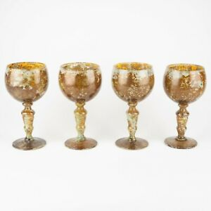 Set of 4 Balloon Wine Glasses / Water Goblets #2 Red Moss Agate by Nieman Marcus