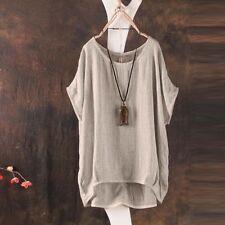 Women Summer T-Shirt Casual Plain Loose Blouse Shirt Batwing Asymmetrical Tops