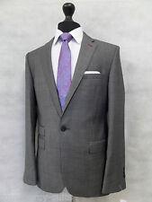 Men's Grey Checked Jeff Banks Wool Suit 38R W34 L29  MV8190