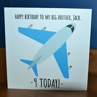 Handmade Personalised Plane Birthday Card Any Name Message Son Grandson Nephew