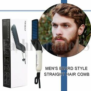 Mens Straightening Hair Comb Curling Irons Beard Comb Quick Heated Brush Styling