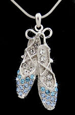 Beautiful Silver Tone Ballerina Dancing Shoes Crystal Pendant Necklace Multi