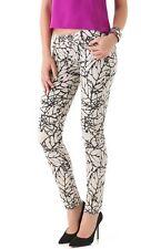 Paige Ivory Denim Leaf Print Skyline Skinny Jeans Pants 25