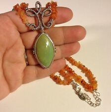 """18"""" Carnelian Chip 925 Sterling Silver Green Turquoise Necklace"""