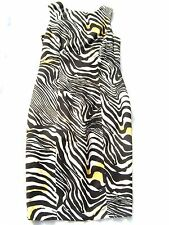 Black white cream Linen Zebra Stripe Tailored fitted midi dress Cruisewear M
