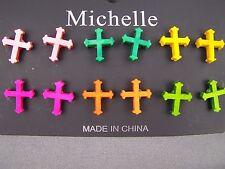"""set pack of 6 pair multi color Cross post stud earrings wood 1/2"""" tall"""