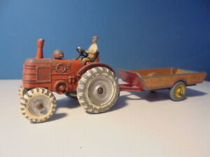 DINKY TOYS FIELD MARSHALL TRACTOR , 27n, & trailer, c1953
