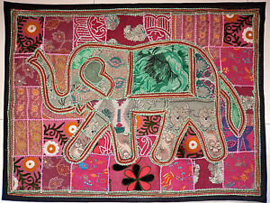 Bohemian Patchwork Vintage Elephant Wall Hanging Cotton Hand Embroidery  E83