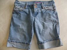 juniors GLO DENIM JEAN SHORTS light blue STRETCHY bermuda CUFF medium SIZE 9
