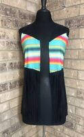 Crazy Train Multicolor Stripe & Faux Black Suede Vest Serape Style Women's S