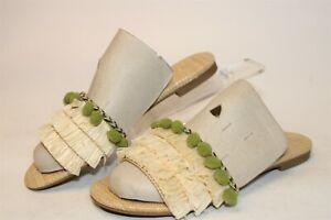 BCBGeneration Womens 6.5 B 36.5 Genna Straw Fringed Slide Sandals Shoes 34BC711