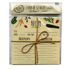 Decorative Recipe Cards - Vegetable Patch Design - Pack of 12 - Size 170 x 165mm