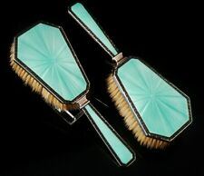 More details for pair true art deco sterling silver enamel hair brushes henry clifford davis 1934
