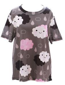 T-12 Wolken Happy Cloudy Rainy Day T-Shirt grau Pastel Goth Lolita Harajuku