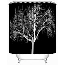 (USA) 3D Printed Shower Curtain Black Big Snow Tree Polyester Bathroom