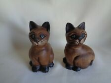 VINTAGE CARVED WOOD SMALL CATS FIGURINES SET OF TWO