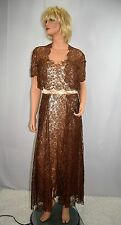 Vintage 40's Ivory Satin Brown Lace Formal Gown Cocktail Dress & Jacket Size M