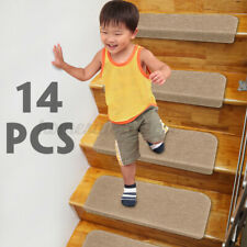 14PCS Stair Tread Carpet Mats Step Non-Slip Staircase Mat Protection Pad Indoor
