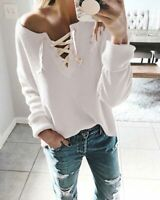 Fashion Casual Loose T-shirt Tops Solid Long Sleeve Shirt Women's Ladies Blouse