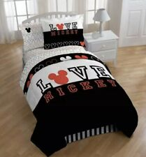 New listing Disney Mickey Mouse Twin Striped Bed Skirt Black White Stripes Bedskirt. 12 Psc