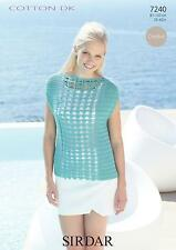 Doppio Knit Crochet Pattern Sirdar 7240-LADY 'S TOP 81 - 107 cm/32 - 42""