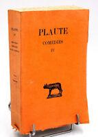 Budé, Les Belles Lettres : PLAUTE - COMEDIES IV - Bilingue Latin, 1936