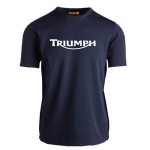 Genuine Official Triumph Racing Speed Bikers Motorcycle Navy Men Tee T-Shirt
