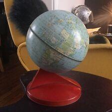 Globe Ancien Vintage 1950 Mappemonde Tole Litho Design Streamline